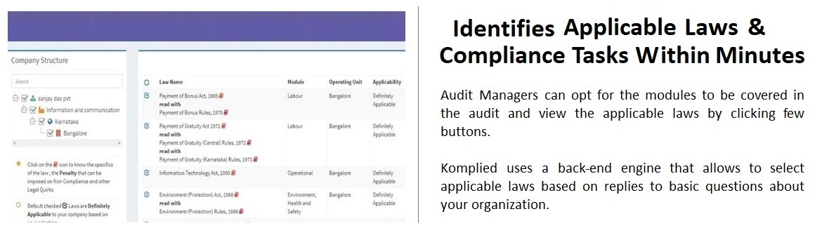 Product Screen of Komplied to identify laws and compliance tasks