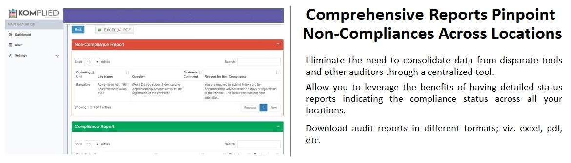 Demo Screen of Compliance Audit Tool